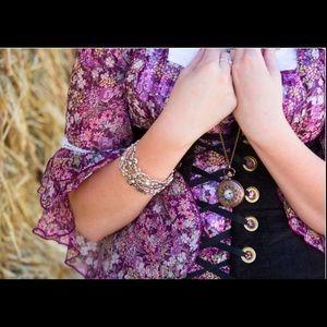 Angel-Sleeve Boho Shabby Chic Floral Print Blouse